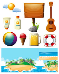 Summer theme with ocean and beach equipments