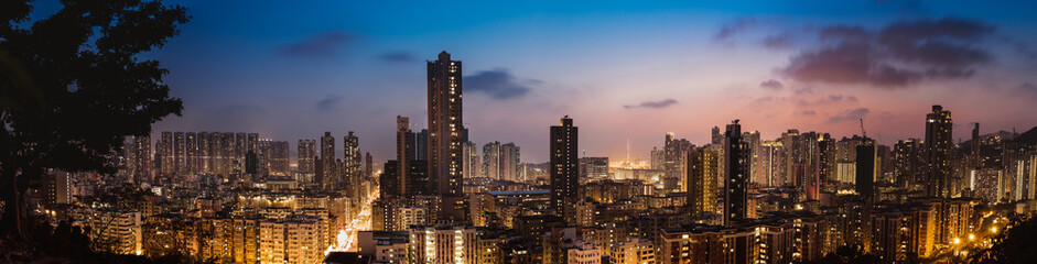 Downtown of Hong Kong, high density, night view