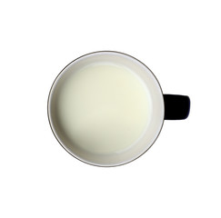 cup of milk on white background, clipping path