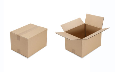 Cardboard boxes close-open isolated on white background with clipping mask, shot separately.