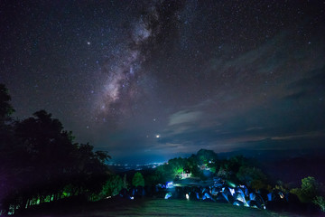 Milky way over camping area on national park