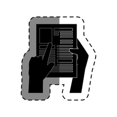 hands human with paper document isolated icon vector illustration design