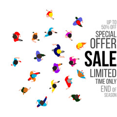 Top view people on sale event. Vector illustration.
