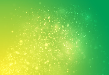 Green and Yellow glitter sparkles rays lights bokeh Festive Christmas Elegant abstract background.
