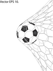 Soccer Football in Goal Net line sketched up Vector Illustrator, EPS 10.