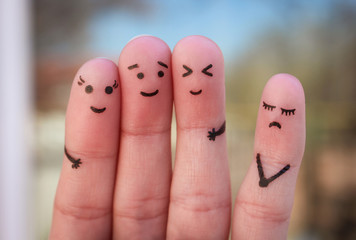 Fingers art of people. Concept of loneliness, allocation from crowd.