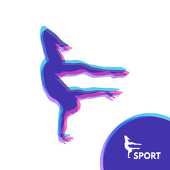 Silhouette of a Dancer. Gymnast. Man is Posing and Dancing. Sport Symbol.