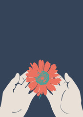 Beautiful red flower in hands on a blue background. Vector illustration. Vertical image