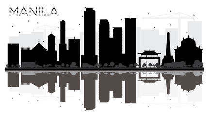 Manila City skyline black and white silhouette with reflections.