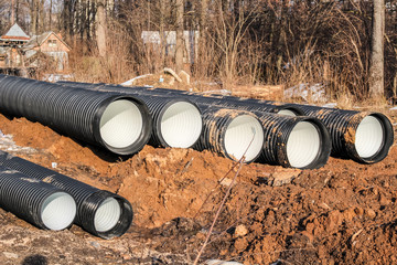 Pipeline laying. Plastic pipes