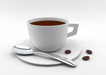 coffee with coffee beans 3D rendering
