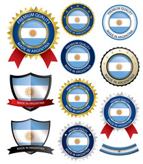 Made in Argentina Seal, Argentinian Flag (Vector Art)