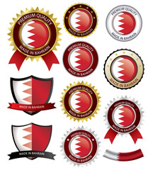Made in Bahrain Seal, Bahraini Flag (Vector Art)
