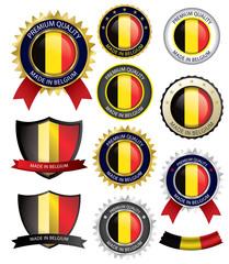 Made in Belgium Seal, Belgian Flag (Vector Art)