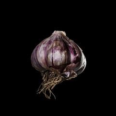 Garlic clove on black background
