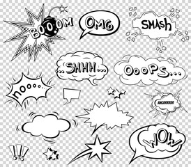 Comic speech bubbles set, wording sound effect design for background, strip. Book Bang cloud, pow and cool exclamation, bomb