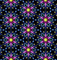 Decorative Colorful Oriental Floral Geometric Pattern