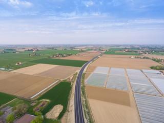 Highway, aerial shot.