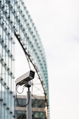 Brussels, Belgium - February 6, 2017: Surveillance cameras on Berlaymont building exterior. The Berlaymont is an office building in Brussels, that houses the headquarters of the European Commission
