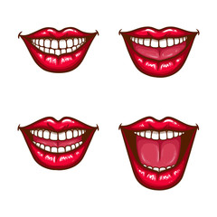 A collection of pop art icons of red female lips - smiling, with tongue. Badges, stickers, design elements, prints for T-shirts