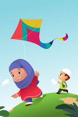 Muslim Kids Playing Kite Outdoor