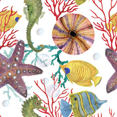 Watercolor painting illustration of seahorse, handmade. Marine seamless pattern. A beautiful colorful background for your design of postcards, textiles, wallpaper.