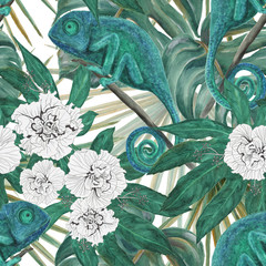 Watercolor painting seamless pattern with tropical leaves and chameleon