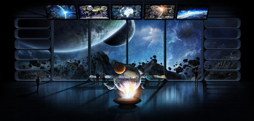 Group of scientists observing the solar system 3D rendering elements of this image furnished by NASA