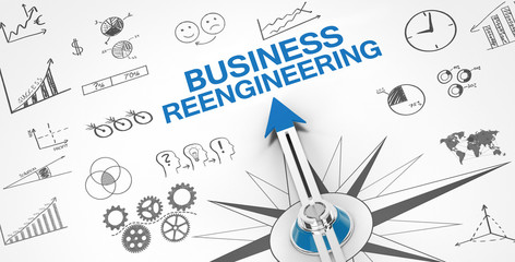 Obraz Business Reengineering / Compass - fototapety do salonu