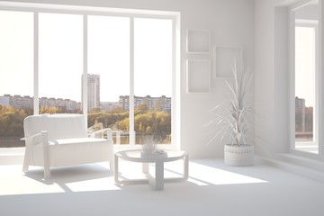 White room with armchair and urban  landscape in window. Scandinavian interior design. 3D illustration