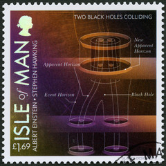 ISLE OF MAN - 2016: shows Two Black Holes Colliding, 100 Years of General Relativity