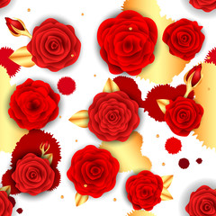 Pattern with red rose. Vector illustration eps 10.
