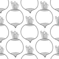 Seamless black and white pattern with beet. Illustration for coloring book