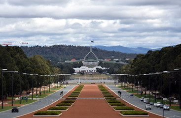 Canberra, Australia - March 18, 2017. Anzac Parade running from The Australian War Memorial in direction of Parliament House, Canberra. View of Anzac Parade and Parliament House in Canberra, Australia