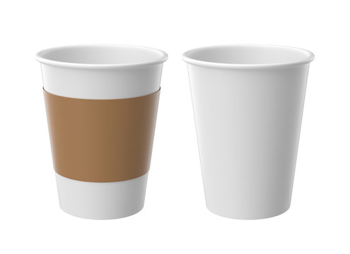 White paper cup isolated on white background, 3D rendering