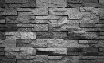 Black and white sandstone bricks wall background