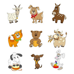 Set of cute cartoon animal character
