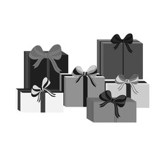 Set of different gray wrapped gift boxes. Flat design. Beautiful present with bow. Symbol and icon for Christmas gift box. Isolated vector illustration.