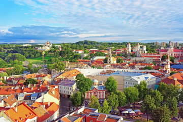 Roof top of old town in Vilnius with churches spires