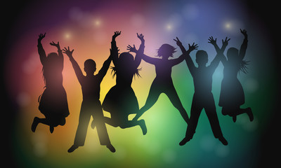 Silhouettes of young people dancing and jumping at a concert or party. Party people. Vector illustration