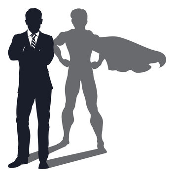 Superhero Shadow Businessman