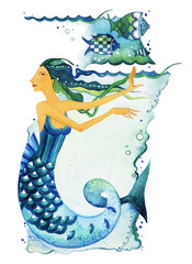 Sign of the Zodiac Pisces; Mermaid as a symbol of the sign of the Zodiac Pisces. Mermaid surrounded by fish and seaweed on a textured background. Watercolor.