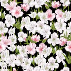 Beautiful alstroemeria on seamless background. Vector illustration.