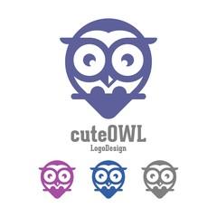 Simple Logo of Owl, Cute Owl Design Logo Vector