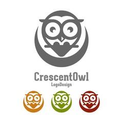 Owl Logo, Crescent Moon Owl Simple Creative and Elegant Logo Design