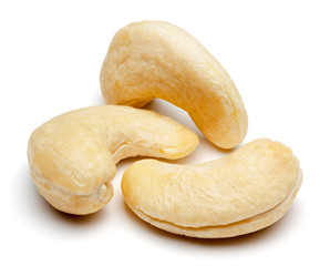 Cashew nuts isolated on white.