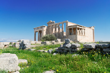 Fototapete - Erechtheion temple with green grass in Acropolis of Athens, Greece