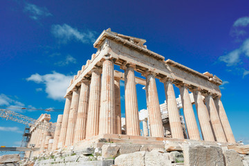 Fototapete - Parthenon temple over bright blue sky background, Acropolis hill, Athens Greece