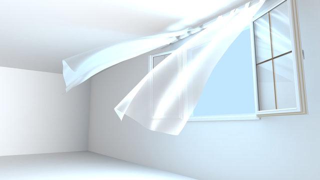 Fenêtres ouvertes, l'ai pur entre dans la pièce. Le vent soulève les rideaux. Rendu 3D.