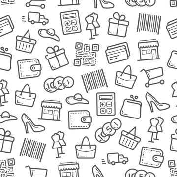 Sale and shopping seamless pattern background